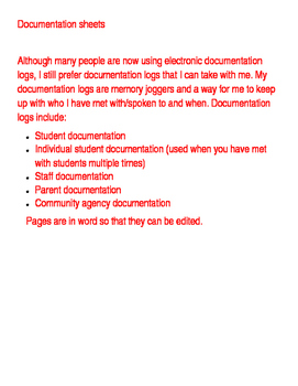 Counselor Documentation Sheets