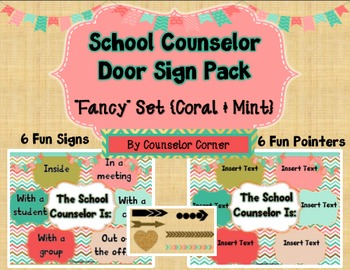 "Counselor Door Sign ""Fancy"" Set {Coral & Mint}"