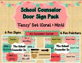 "Counselor Door Sign ""Fancy"" Set {Coral & Mint}"