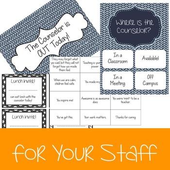 Counselor Office Bundle with Calendar and Signs - Navy & Teal