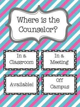 Counselor Office Bundle with Calendar and Signs - Pink & Blue