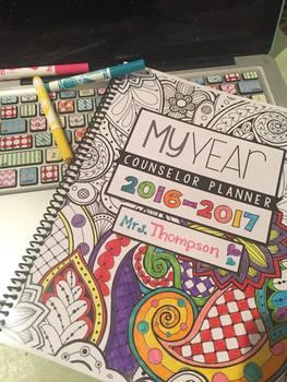 """Counselor Planner  """"EZ print ZEN Doodle"""" Adult Coloring Design"""