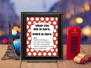 Confidentiality Rules Poster, Counseling Office Decor, Back to School
