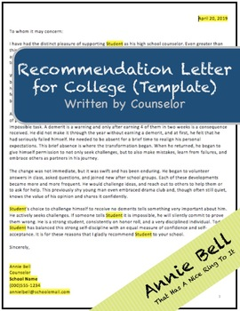 Counselor Rec Letter - Recommendation Letter Template