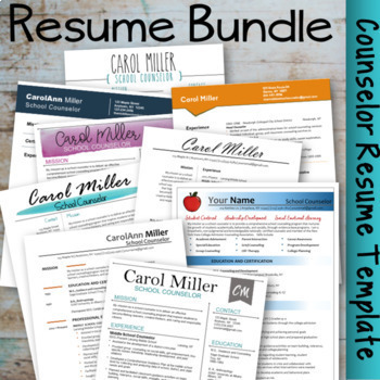 counselor resume template bundle by carol miller the middle school