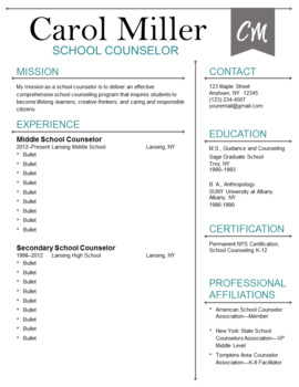 Counselor Resume Template--Flag Design