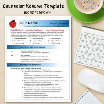 Counselor Resume Template--Inspired Design