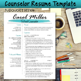 Counselor Resume Template--Turquoise Design
