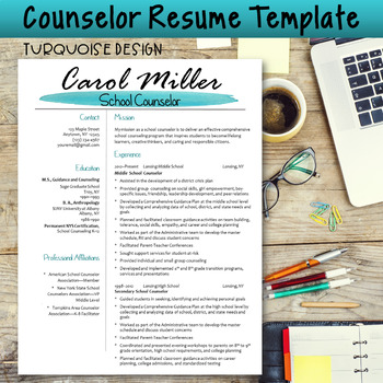 counselor resume template turquoise design tpt