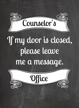 Counselor's Office Door Sign
