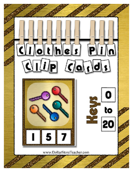 Count 0 to 20 Clip Card Clothes Pin Math Center  ~ Glitter Keys for Preschool