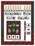 Count 0 to 20 Clip Card Clothes Pin Math Center Printable ~ Christmas Cupcakes