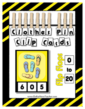 Count 0 to 20 Clip Card Clothes Pin Math Center Printable ~ Flip Flops ~ Summer