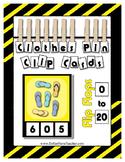 Count 0 to 20 Clip Card Clothes Pin Math Center Printable ~ Flip Flops ~ Summer