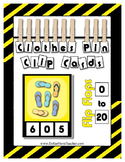 Count 0 to 20 Clip Card Clothes Pin Math Center Printable