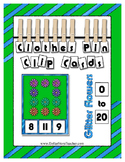 Count 0 to 20 Clip Card Clothes Pin Math Center Printable ~ Glitter Flowers