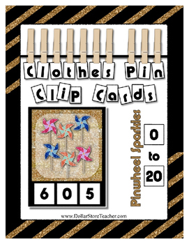 Count 0 to 20 Clip Card Clothes Pin Math Center Printable ~ Pinwheel Sparkles