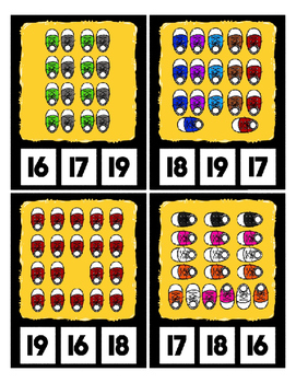 Count 0 to 20 Clip Card Clothes Pin Math Center Printable ~ S is for Sneakers