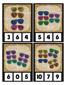 Count 0 to 20 Clip Card Clothes Pin Math Center  ~ Shutter Glasses Sparkle