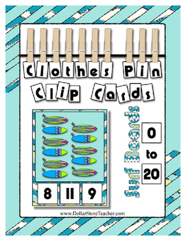 Count 0 to 20 Clip Card Clothes Pin Math Center  ~ Surf Boards for Summer Fun