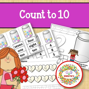 Count 1 to 10 - How Many Candy Hearts Counting Activity Package