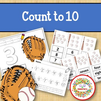 Count 1 to 10 - How Many Baseballs Counting Activity Package