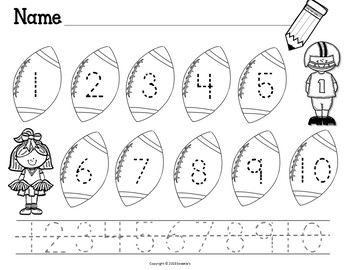 Count 1 to 10 - How Many Footballs Counting Activity Package