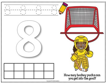 Count 1 to 10 - How Many Hockey Pucks Counting Activity Package