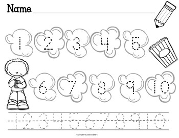 Count 1 to 10 - How Many Popcorn Pieces Counting Activity Package