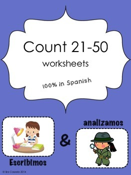 Numbers 21-50: identification, writing, drawing representation in Spanish