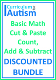 Count Add Subtract Cut Paste BUNDLE Autism Classroom Homeschool