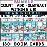Count, Add & Subtract within 5 and 10 - Math Winter Boom Cards {BUNDLE}
