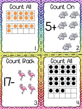 Count All, Count On, and Count Back Task Cards
