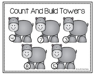 Count And Build Towers - Zoo Theme