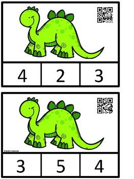 Count And Clip 1-10 Dinosaurs (QR Code Ready) -Dollar Deal