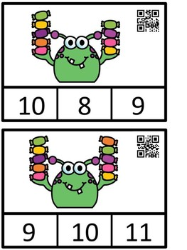 Count And Clip 1-10 Monster's Candy  QR Code Ready