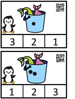 Count And Clip 1-10 Penguin (QR Code Ready) -Dollar Deal