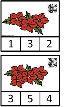 Count And Clip 1-10  Poinsettia & Memory Cards