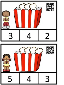 Count And Clip 1-10 Popcorn And Matching Cards