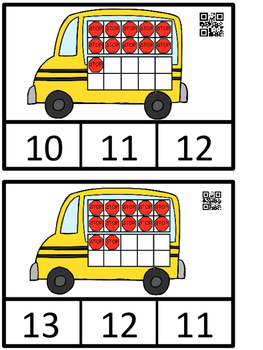 Count And Clip 1-20 Bus Stop Ten Frames  (QR Code Ready)