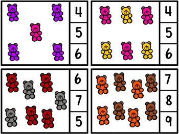 Count And Clip 1-20 Colorful Bears