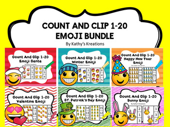 Count And Clip 1-20 Emoji Bundle