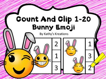 Count And Clip 1-20 Emoji Bunnies