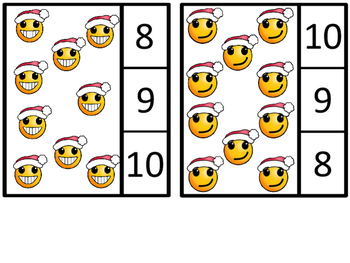 Count And Clip 1-20 Emoji Santas