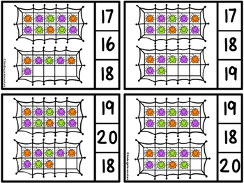 Count And Clip 1-20 Spiders (Matching Worksheets Included)