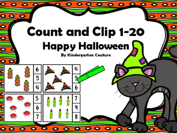 Count And Clip 1-20 -Happy Halloween