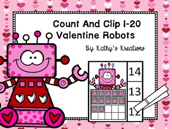 Count And Clip 1-20 Valentine Robots