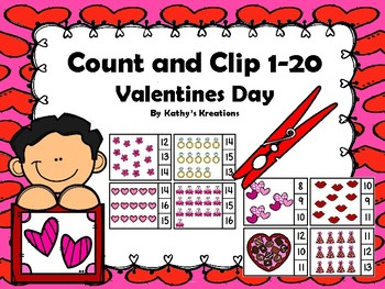 Count And Clip 1-20 Valentine