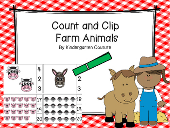 Count And Clip -Farm Animals