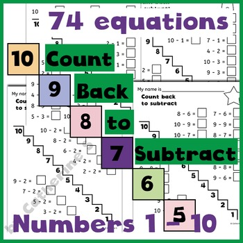 Count Back to Subtract Worksheets